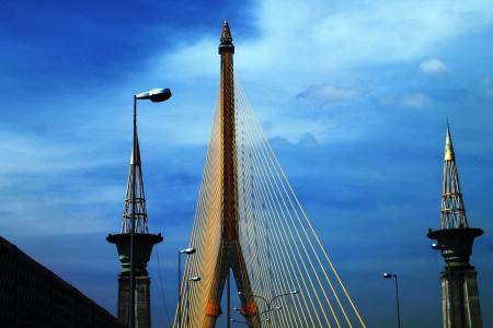 Rama VIII bridge with blue sky in Bangkok, Thailand  Stock Photo