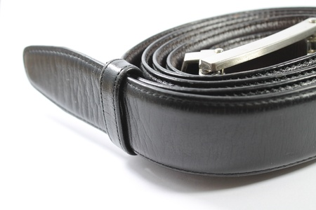Black Leather Belt - Isolated on White