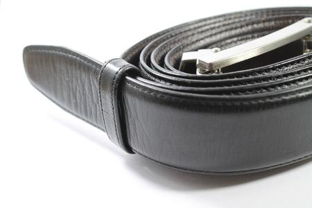 Black Leather Belt - Isolated on White