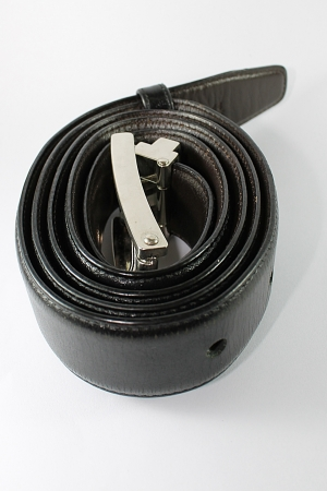 Black Leather Belt -  White background