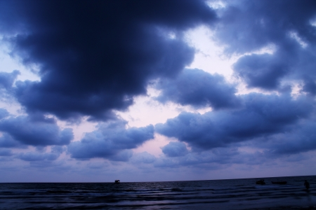 Dark sea and moody sky Stock Photo
