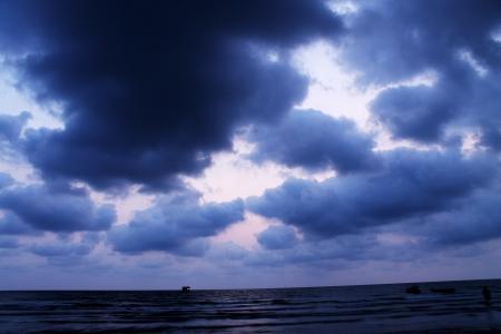 Dark sea and moody sky Stock Photo