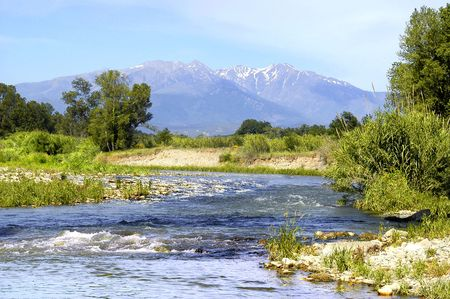 pyrenees: River in the Pyrenees Stock Photo
