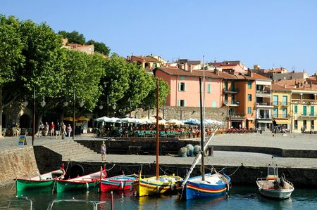 Port and village of Collioure in France Imagens