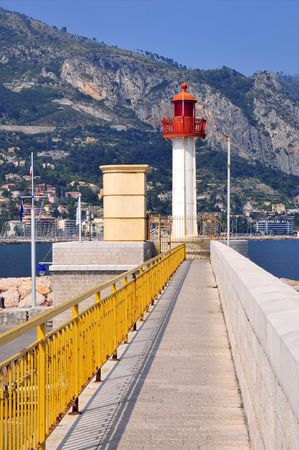 menton: Lighthouse of Menton on the french riviera, region Provence, department Alpes Maritimes