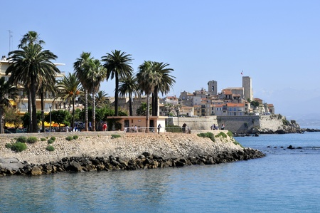 Sea and town of Antibes in southeastern France, mediterranean area