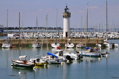 Port de Haliguen avec des fleurs petunia rouges et le phare de Quiberon dans le département du Morbihan en Bretagne, en Basse-Normandie. Banque d'images - 8884440