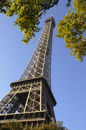 rance: Closeup of the Eiffel tower of Paris among foliage on the blue sky background