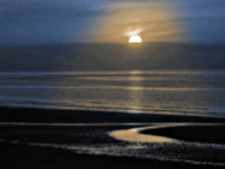 vibrating: Lighting vibrating effect of sunset