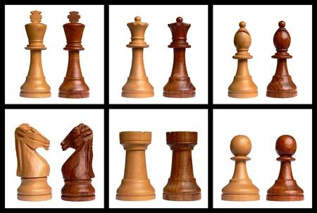 Piezas de ajedrez blancas y negras aisladas sobre fondo blanco Foto de archivo - 9383151