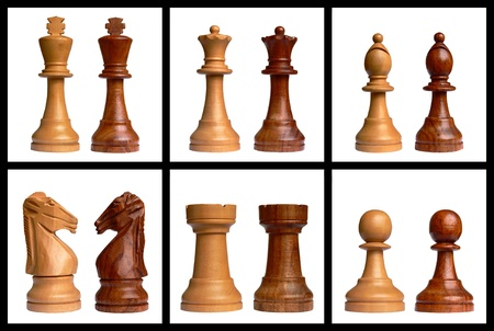 White and black chess pieces isolated on white background