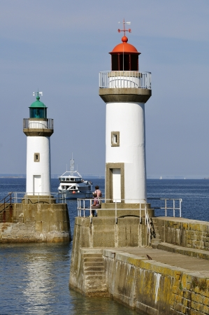 palais: Two lighthouses the port entrance of Le Palais at Belle Ile in France. Morbihan department in Brittany in north-western France Stock Photo