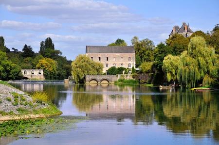 Paisaje del r�o Sarthe, en el norte de Francia Foto de archivo - 11208960