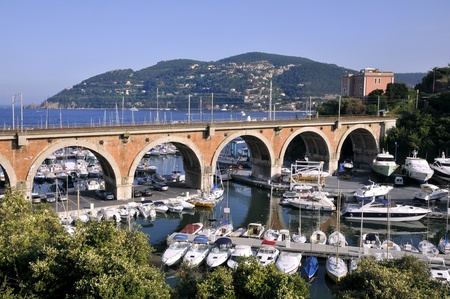 maritimes: Port of La Rague in France, department Alpes maritimes, with a rail aqueduct