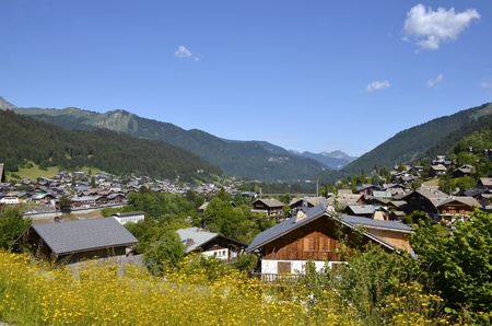 Town of Morzine in the mountains of Alps in eastern France, commune in the Haute-Savoie department in the Rh�ne-Alpes region