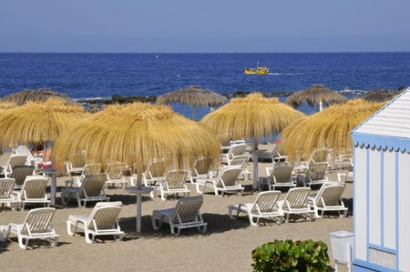 Straw umbrella and deckchairs on the costa Adeje at Tenerife in the Spanish Canary Islands photo