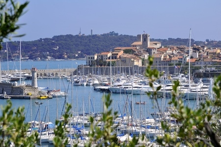Port of Antibes in southeastern France with the town in the background
