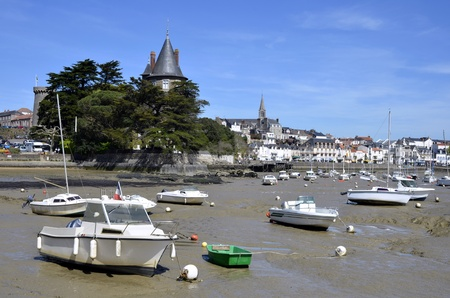 pays: Port of Pornic at high tide in Pays de la Loire region in western France Stock Photo
