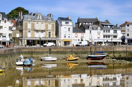 loire: Port of Pornic at low tide in Pays de la Loire region in western France Stock Photo