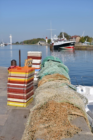basse normandy: Industrial port of Honfleur and fishing net, commune in the Calvados department in northwestern France Stock Photo