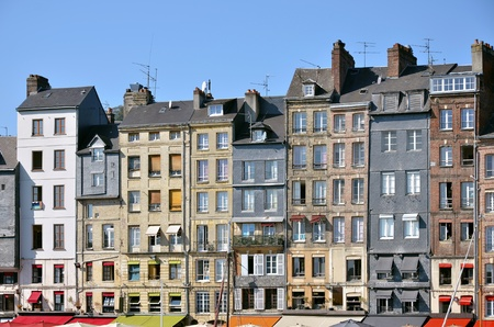 basse normandy: Typical facades on the port of Honfleur, commune in the Calvados department in northwestern France
