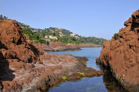 maritimes: Rocky coast of Theoule sur Mer in southeastern France in the department Alpes Maritimes, mediterranean sea
