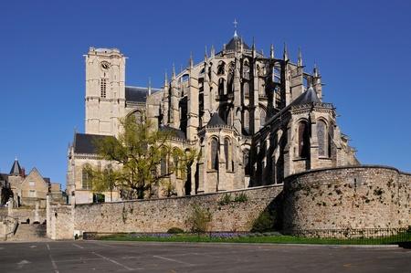 Roman cathédrale de Saint-Julien du Mans de la région Pays de la Loire, dans le nord-ouest de la France Banque d'images - 12851214