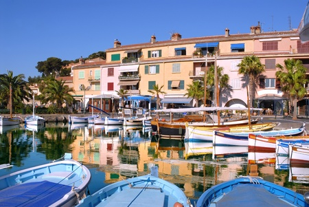 Port of Sanary in France on the French riviera with many small boats photo