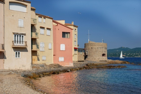 Beach and buildings of famous village Saint Tropez in the French Riviera. Var department, Region: Provence-Alpes-C&ocircte d'Azur Stock Photo - 12862928