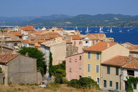 saint tropez: Buildings of famous village Saint Tropez in French Riviera with its bay. Var department, Region: