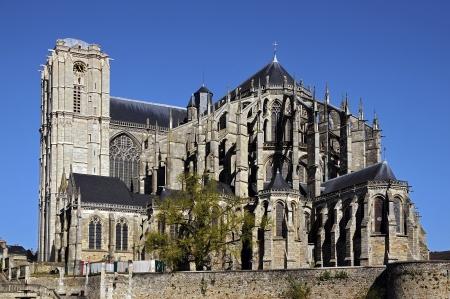 Roman cathedral of Saint Julien at Le Mans of the Pays de la Loire region in north-western France photo