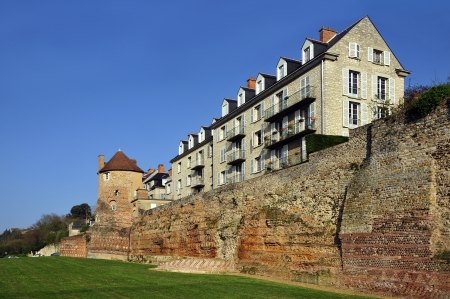 Old surrounding wall and keep and buildings at Le Mans, Pays de la Loire region in north-western France