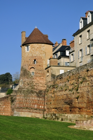 Old keep and surrounding wall at Le Mans, Pays de la Loire region in north-western France