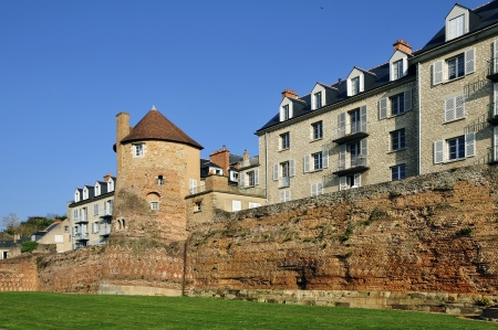 Old surrounding wall and keep at Le Mans, Pays de la Loire region in north-western France photo