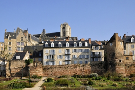Old town of Le Mans with the cathedral of Saint Julien in the background in the Pays de la Loire region in north-western France photo