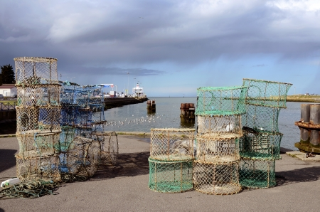 lobster pot: Fishing port and lobster pots at Ouistreham in the Calvados department in the Basse-Normandie region in northwestern France.