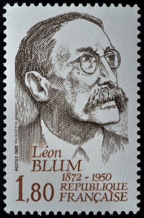 identified: Postage stamp with Andr� L�on Blum was a French politician (9 April 1872 � 30 March 1950), usually identified with the moderate left, and three times Prime Minister of France.