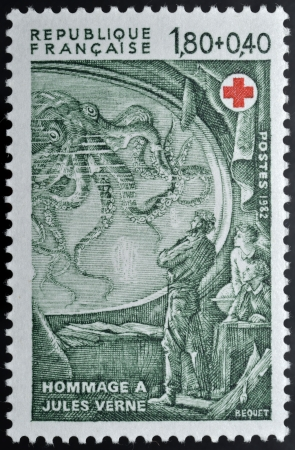 of homage: Postage stamp in homage to Jules Vernes. Jules Gabriel Verne (February 8, 1828 � March 24, 1905) was a French author who pioneered the science fiction genre in Europe.