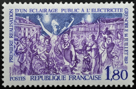 Postage stamp first public lighting at Grenoble in France the july 14, 1882