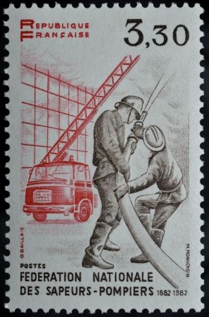 Postage stamps with fire brigade in France