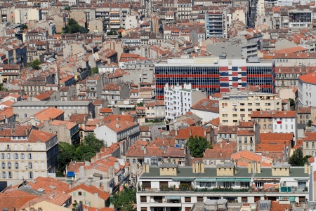 conglomeration: Aerial view on the roofs of Marseilles in south of France  Stock Photo