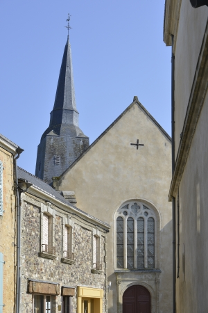 ranked: Church of Sainte-Suzanne, ranked one the most beautiful villages, fortified town in the Mayenne department, Pays-de-la-Loire region, in north-western France