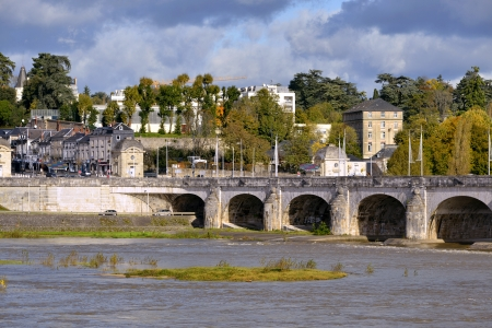 wilson: River Loire and bridge of Wilson at Tours, city in central France, the capital of the Indre et Loire department, Centre region  Stock Photo
