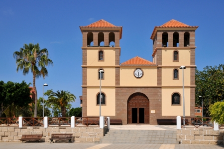 adeje: Church San Sebastian on the costa Adeje of the southwest part of Tenerife in the Spanish Canary Islands