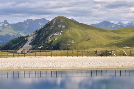 saint jacques: Pond and mount Saint Jacques at La Plagne, commune in the Tarentaise Valley,Savoie department and Rh�ne Alpes region in France