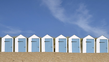 vendee: Blue and white beach hut, in the Vendee department in the Pays de la Loire region in western France Stock Photo