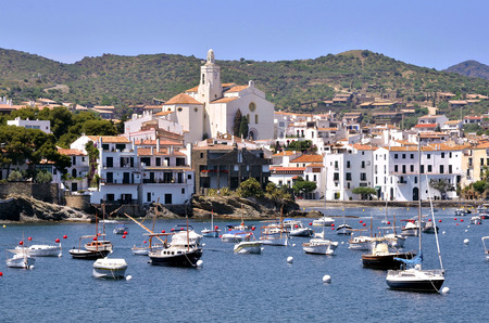 Port and town of Cadaques with Santa Maria church, commune on the Costa Brava at northeastern Catalonia in Spain