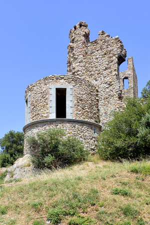 azur: Ruin castle of Grimaud, commune in the Var department in the Provence-Alpes-Cote Azur region in southeastern France
