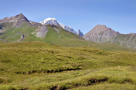 st bernard: Valley at Col du Petit-Saint-Bernard  Little St Bernard Pass , Rhone-Alpes region in France