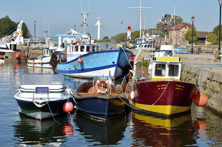 basse normandy: Fishing boats in the port Of Honfleur, commune in the Calvados department in the lower Normandy region in northwestern France